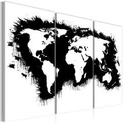 Artgeist Wandbild - Monochrome Weltkarte - Triptychon