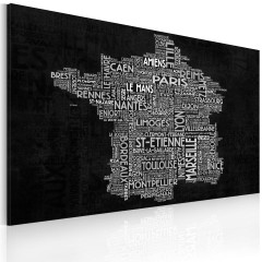 Artgeist Wandbild - Text map of France on the black background