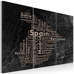 Artgeist Wandbild - Text map of Spain on the blackboard - triptych