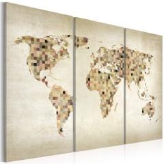 Artgeist Wandbild - Welt in beigen Farbtönen - Triptychon