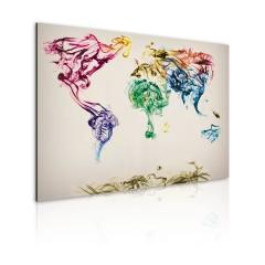 Artgeist Wandbild - Weltkarte - bunte Rauchfahnen