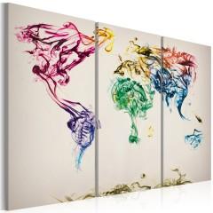 Artgeist Wandbild - Weltkarte - bunte Rauchfahnen - Triptychon