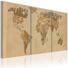Artgeist Wandbild - Weltkarte in Beige und Braun