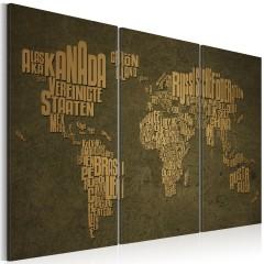 Artgeist Wandbild - Weltkarte, deutsche Sprache: beige Kontinente - Triptychon