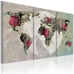Artgeist Wandbild - Weltkarte: Vollmond - Triptychon
