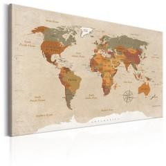 Artgeist Wandbild - World Map: Beige Chic