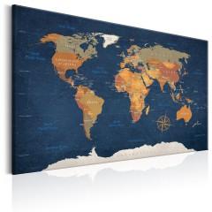 Artgeist Wandbild - World Map: Ink Oceans