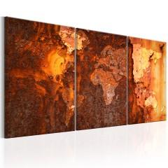 Artgeist Wandbild - World Map: Old Rust
