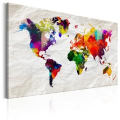 Artgeist Wandbild - World Map: Rainbow Madness