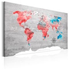 Artgeist Wandbild - World Map: Red Roam