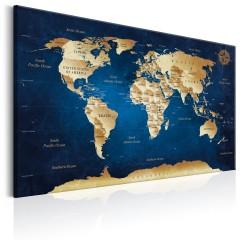 Artgeist Wandbild - World Map: The Dark Blue Depths