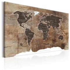 Artgeist Wandbild - World Map: Wooden Mosaic
