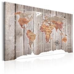Artgeist Wandbild - World Map: Wooden Stories