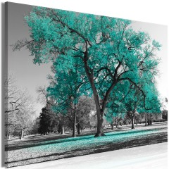 Artgeist Wandbild - Autumn in the Park (1 Part) Wide Turquoise