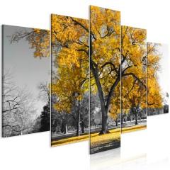 Artgeist Wandbild - Autumn in the Park (5 Parts) Wide Gold