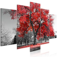 Artgeist Wandbild - Autumn in the Park (5 Parts) Wide Red