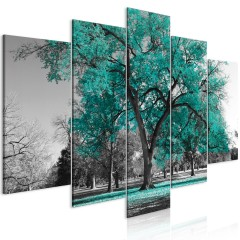 Artgeist Wandbild - Autumn in the Park (5 Parts) Wide Turquoise