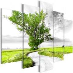 Artgeist Wandbild - Tree near the Road (5 Parts) Green