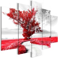 Artgeist Wandbild - Tree near the Road (5 Parts) Red