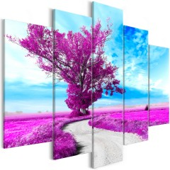 Artgeist Wandbild - Tree near the Road (5 Parts) Violet