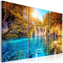 Artgeist Wandbild - Waterfalls of Sunny Forest