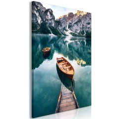 Artgeist Wandbild - Boats In Dolomites (1 Part) Vertical
