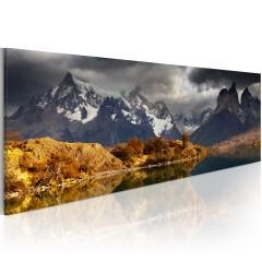 Artgeist Wandbild - Mountain landscape before a storm