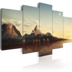 Artgeist Wandbild - Sonnenaufgang in den Bergen