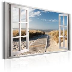 Artgeist Wandbild - Window: View of the Beach