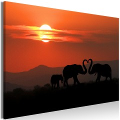 Artgeist Wandbild - Elephants in Love (1 Part) Wide