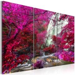 Artgeist Wandbild - Beautiful Waterfall: Pink Forest