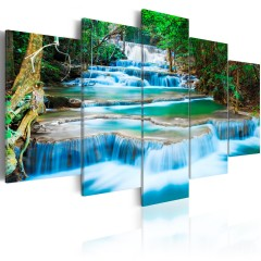Artgeist Wandbild - Blauer Wasserfall in Kanchanaburi, Thailand