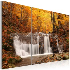 Artgeist Wandbild - Wasserfall im bunten Laub