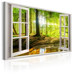 Artgeist Wandbild - Window: View on Forest