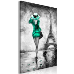 Artgeist Wandbild - Parisian Woman (1 Part) Vertical Green