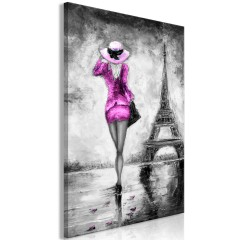 Artgeist Wandbild - Parisian Woman (1 Part) Vertical Pink