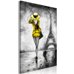 Artgeist Wandbild - Parisian Woman (1 Part) Vertical Yellow