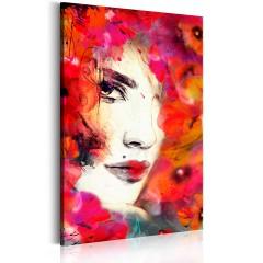 Artgeist Wandbild - Frauengesicht mit Mohnblumen