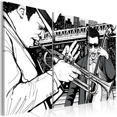 Artgeist Wandbild - Jazz-Konzert und New York-Wolkenkratzer im Hintergrund - Triptychon