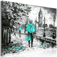 Artgeist Wandbild - Walk in London (1 Part) Wide Turquoise