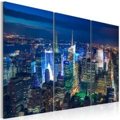 Artgeist Wandbild - Nacht in New York aus der Vogelperspektive