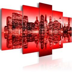 Artgeist Wandbild - Rotes Licht über New York - 5 Teile