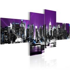 Artgeist Wandbild - Violetter Himmel über New York City