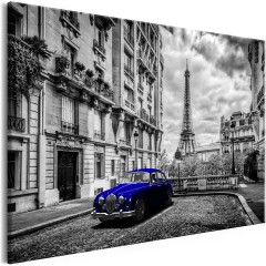 Artgeist Wandbild - Car in Paris (1 Part) Blue Wide