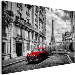 Artgeist Wandbild - Car in Paris (1 Part) Red Wide