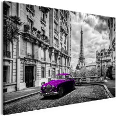 Artgeist Wandbild - Car in Paris (1 Part) Violet Wide