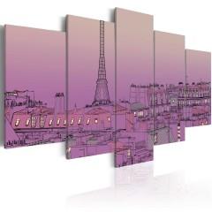 Artgeist Wandbild - Lilafarbener Sonnenaufgang über Paris
