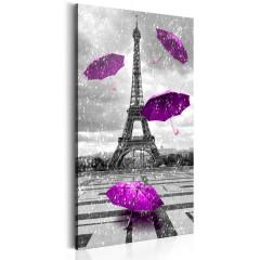 Artgeist Wandbild - Paris: Purple Umbrellas
