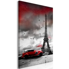 Artgeist Wandbild - Red Car in Paris (1 Part) Vertical