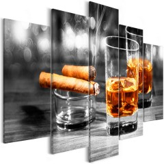 Artgeist Wandbild - Cigars and Whiskey (5 Parts) Wide